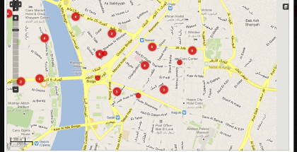 HarassMap: Harassment rates around Cairo as per reported incidents.